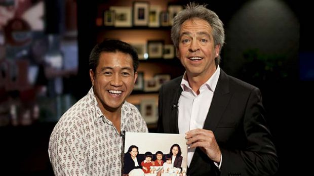 Frozen moment … comedian Ahn Do shares a childhood photo with host Brian Nankervis on <em>Pictures of You</em>.