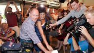 Campbell Newman and Lisa Newman cast their votes for the Queensland State Election at Newmarket State School.24th of ...