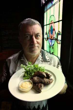 Skip the entree: Guy Lawson with a kangaroo dish at the Napier Hotel.