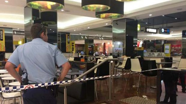 The crime scene at the Parramatta shopping centre.