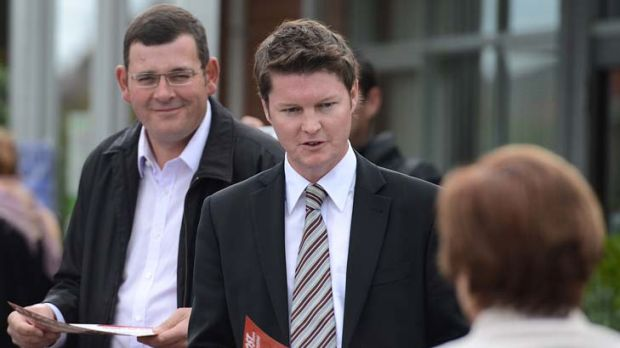 Niddrie by-election winner Ben Carroll with Labor leader Daniel Andrews.