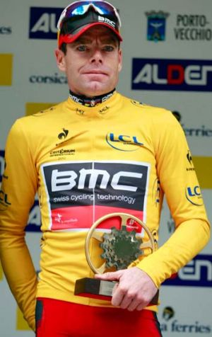 It's all good... Cadel Evans on the podium after winning the Porto-Vecchio Criterium in Corsica.