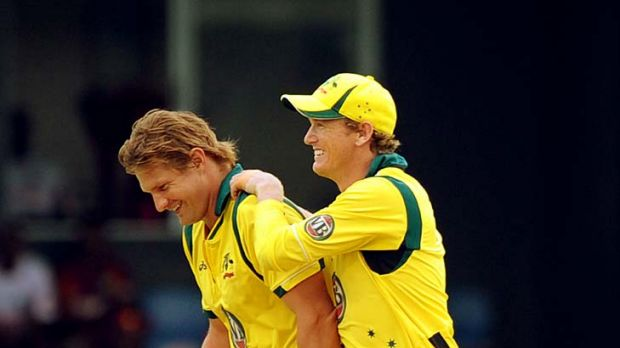 Shane Watson and George Bailey rejoice after Watson dismissed Kieron Pollard to reduce the West Indies to 7-118.