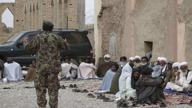 The Afghan National Army is appealing to Mirabad Valley elders at a shura to stop their brothers and sons joining the ...