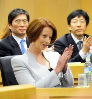 Gillard seems to be struggling to find a receptive audience in Korea.