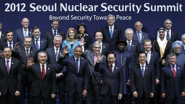 Photo opportunity ... world leaders gather in South Korea for the Nuclear Security Summit.