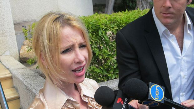 Hajnal Black speaks to reporters outside Beenleigh Magistrates Court on Tuesday.