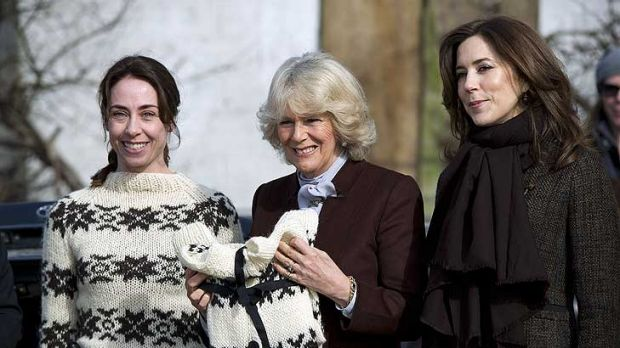 Danish Crown Princess Mary and s Camilla, Duchess of Cornwall, with actress Sofie Grabol on the set of The Killing.