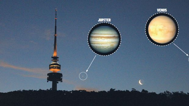 Black Mountain tower, Jupiter and Venus appear to line up in the evening sky - a phenomenon that occurs only once every ...
