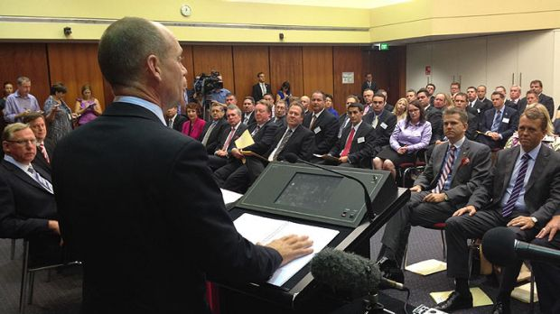 Premier Campbell Newman presides over a mammoth LNP party room meeting.