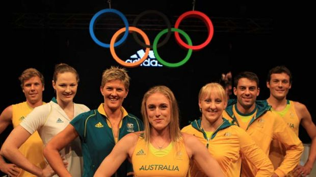 Suit yourself ... Australian athletes including Sally Pearson, centre, and Natalie Cook, on her right, try the new ...
