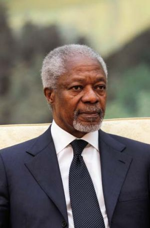 Peace train ... The special envoy for the UN and Arab league, Kofi Annan.
