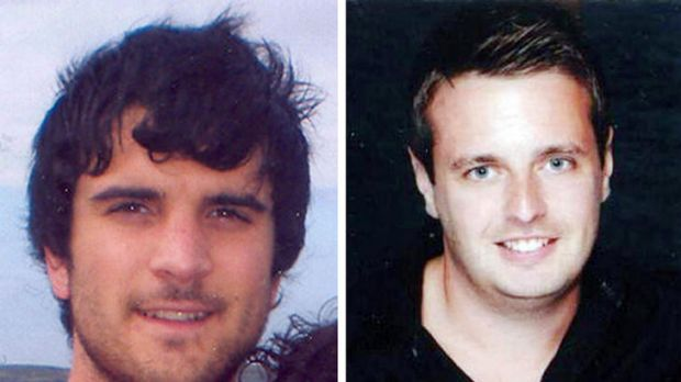 Shot dead ... James Kouzaris (left) and James Cooper.