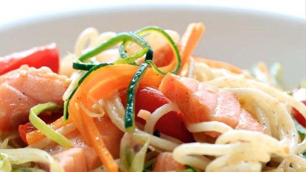 Steve Manfredi's  spaghettini with hot-smoked salmon and vegetables.