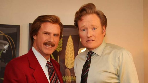 """""""What's Ron Burgundy doing here?"""" ... Ron Burgundy with Conan O'Brien after the Anchorman sequel announcement."""