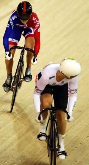 Foes not friends … British rider Victoria Pendleton, rear, and Anna Meares.