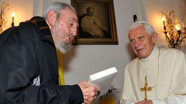 Former Cuban leader Fidel Castro and Pope Benedict discussed economic and environmental issues during a 30-minute ...