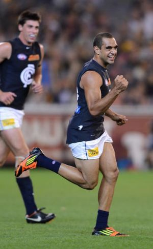 Snap out of the Blue: Carlton's Chris Yarran celebrates kicking an early contender for goal of the year in last night's ...