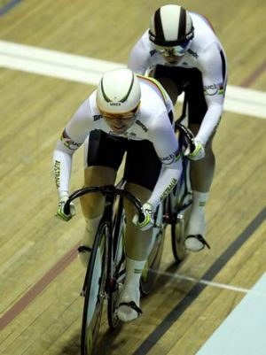 Kaarle McCulloch and Anna Meares ride to victory in the Women's Team Sprint Finals during the UCI Track Cycling World ...