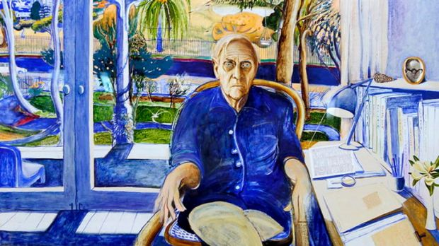 <i>Portrait of Patrick White at Centennial Park</i> by Brett Whiteley (part of the NSW parliament collection) will be on ...