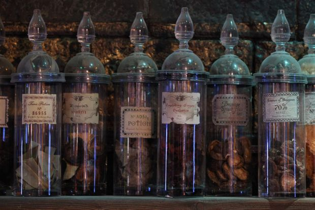 A general view of props used on the set of the Harry Potter films. March 23, 2012.
