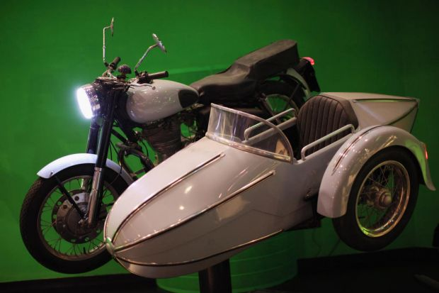 The motorbike and sidecar belonging to Harry Potter character Hagrid that was used the Harry Potter films is displayed. ...