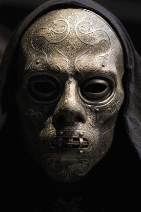 A 'Death Eater' costume used in the Harry Potter films is displayed. March 23, 2012.
