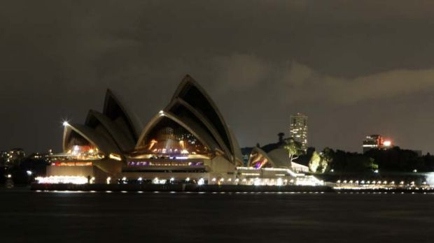 Lights out ... the Sydney Opera House from North Sydney during Earth Hour last year.