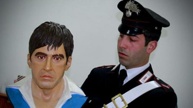 The Scarface bust found in an Italian drug suspect's house.