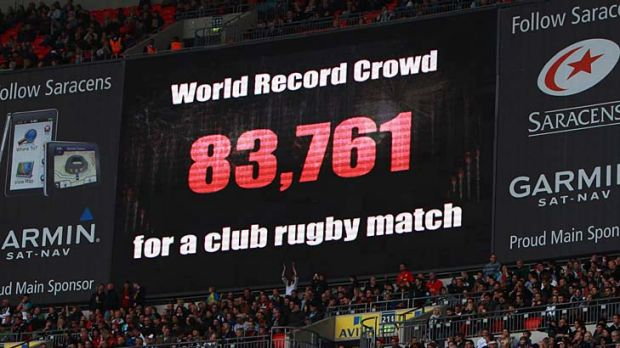 The scoreboard announces the record crowd during the Aviva Premiership match between Saracens and Harlequins at Wembley ...