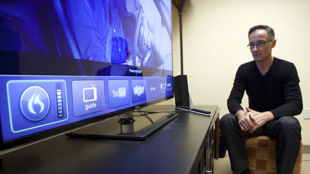 Vlad Sejnoha, chief technology officer of Nuance Communications, demonstrates Nuance's Dragon TV system, which obeys ...