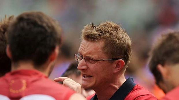 Frustrated: Melbourne coach Mark Neeld tries in vain to get his message across.