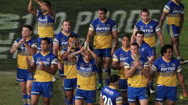 Encouraging signs … Parramatta players celebrate their win.