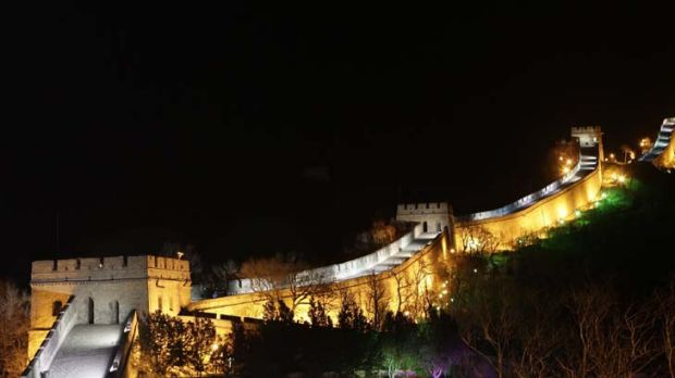 In the dark ... the Badaling section of the Great Wall in China shortly before Earth Hour.