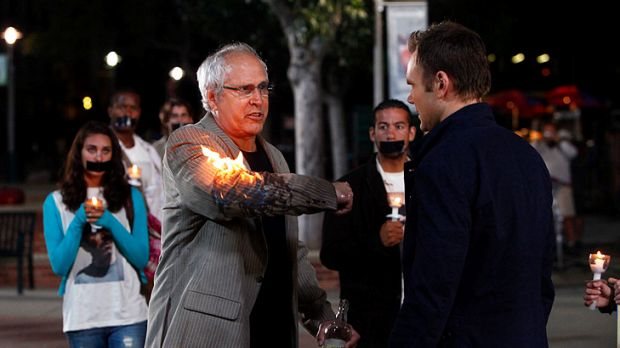 Chevy Chase in a scene from <i>Community</i>.
