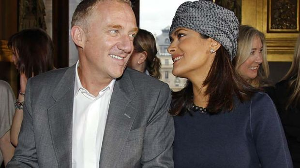Traumatic pregnancy... Salma Hayek with husband Francois-Henri Pinault.
