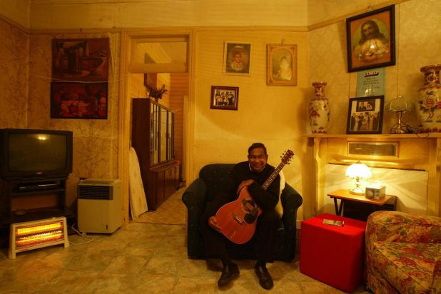 Singer songwriter Jimmy Little pictured at home in Sydney. May 11, 2004.