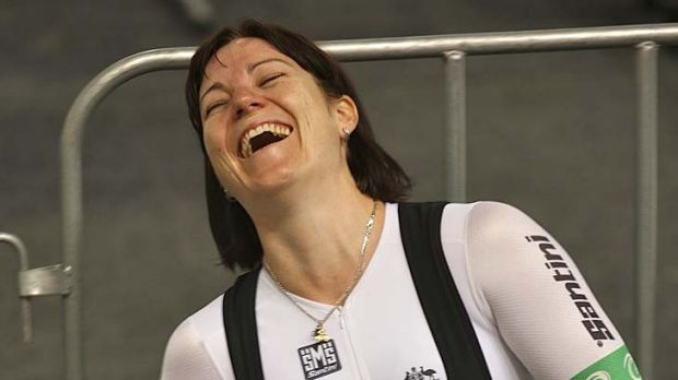 Golden smile: Australian track cyclist Anna Meares jokes at training ahead of the UCI world track championships.