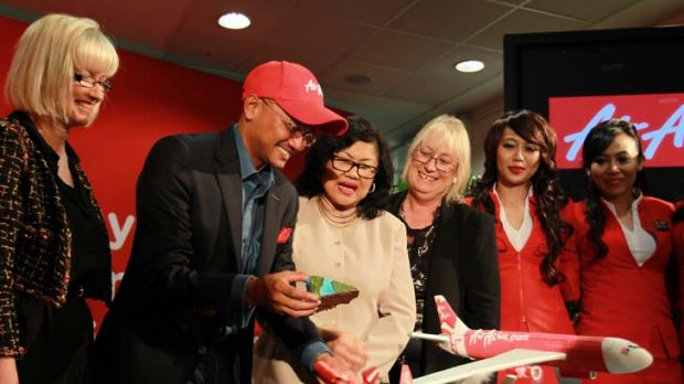 Groundbreaking ... officials celebrate AirAsia X's arrival at Sydney Airport.
