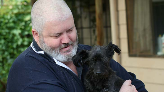 One of OCAU's most productive folders ... Michael Russell, with his dog Skye.