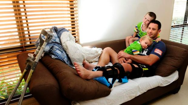 Raiders vice-captain Brett White relaxes at home with sons, Jack, 5, and Colt, 19 months, yesterday. Raiders ...