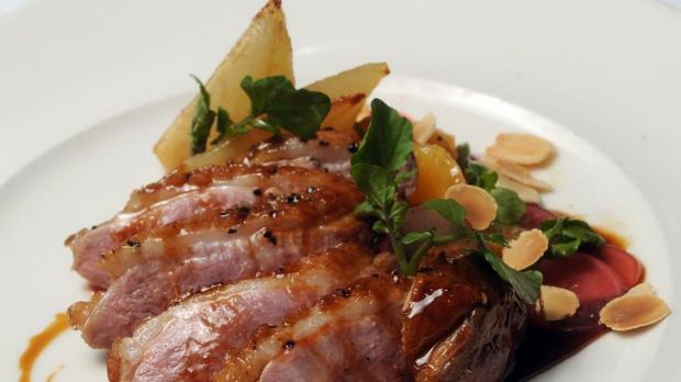 Cinnamon smoked duck breast, with roast pear, watercress, radish, almonds at the Ginger Room at Old Parliament House.