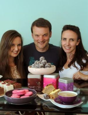 Felicity Harrison from Flickabelle's Vegan Bakery, Owen Saddler from Dream Cusine and Anthea Cahill from Real Chai with ...
