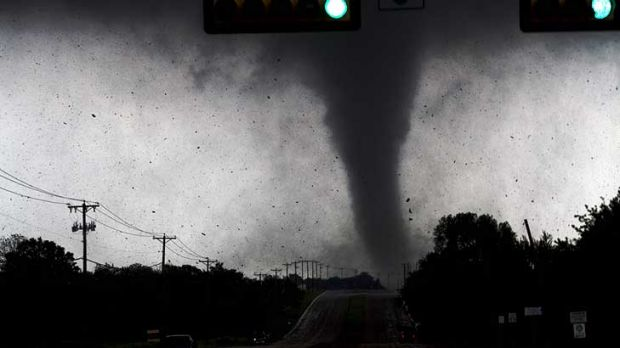 A tornado touches down in Lancaster,  south of Dallas.