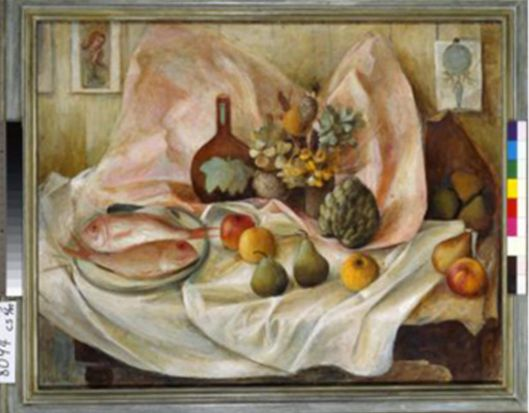 Still life with pink fish, 1948. Artist: Margaret Olley. Oil on cheesecloth on hardboard.