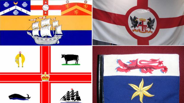 The flags of (clockwise from top left) Sydney, Perth, Hobart and Melbourne.
