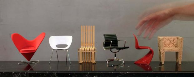 Vitra's Miniatures ... Heart-Shaped Cone Chair by Panton, 1958; Tom Vac Chair by Arad, 1999; Rolf's Chair by Frank ...