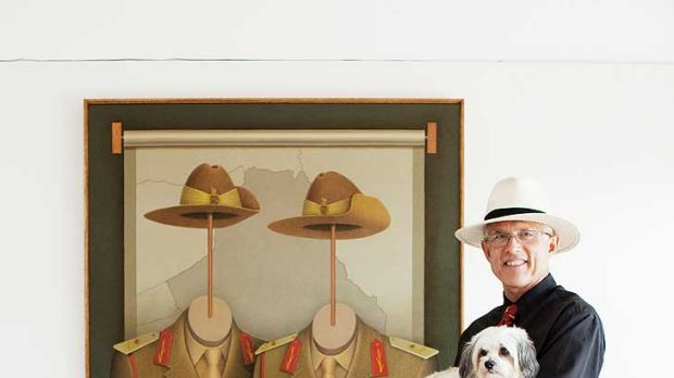 Facing a challenge ... Lambert Visser with Maggie and his painting.