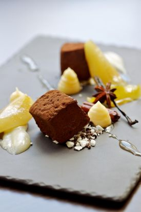 The fifth course: Valrhona chocolate marshmallow, beurre bosc pear curd and chiboust cream.