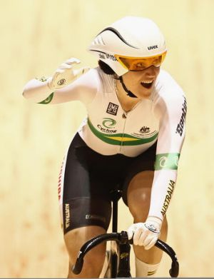 Record breaker: Anna Meares yesterday.